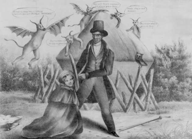 Cartoon depicting Methodist minister Ephraim Avery strangling mill girl Sarah Cornell. Though a jury cleared him of the crime, the public decided he had done it.